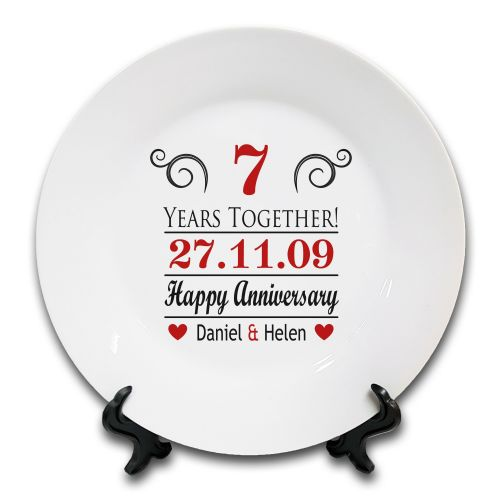 Personalised Years Together Happy Anniversary Novelty Ceramic Plate